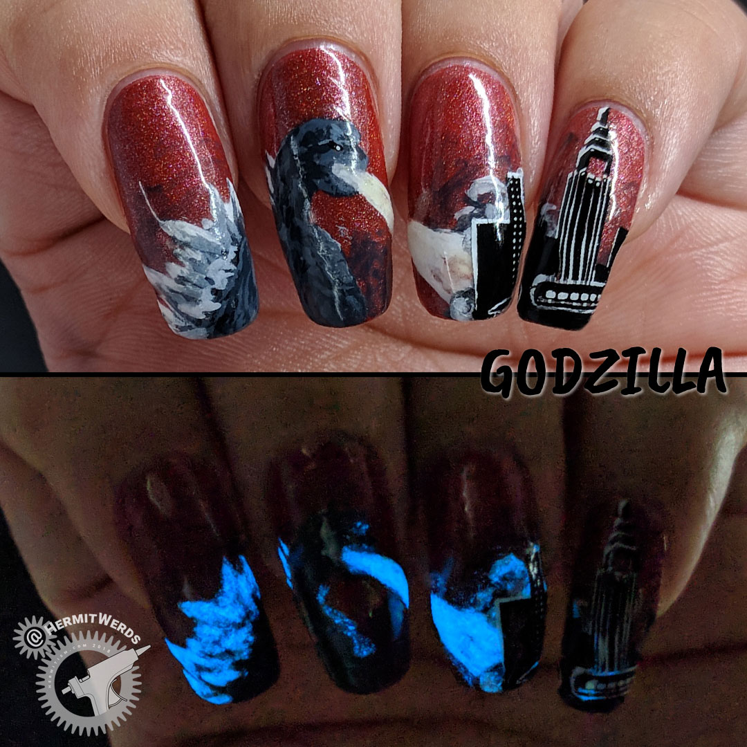 Godzilla - Hermit Werds - freehand nail art featuring everyone's favorite Kaijū, Godzilla, attacking Tokyo (glows in the dark)