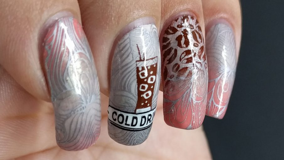 Iced Coffee - Hermit Werds - coral and white gold nail art with iced coffee stamping