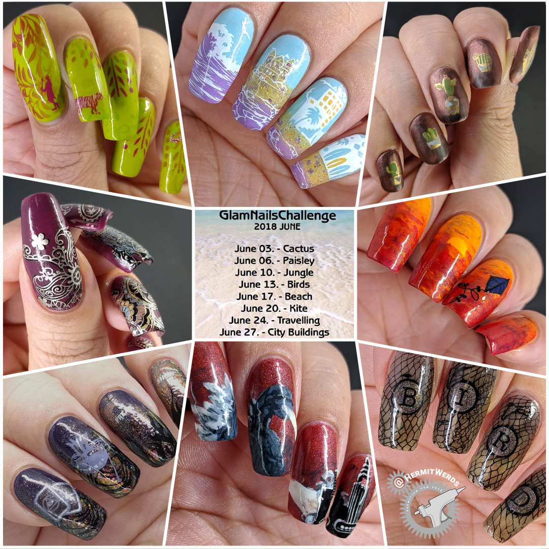 #GlamNailsChallenge June 2018 - Hermit Werds - completed nail challenges for cactus, paisley, jungle, beach, bird, kite, travel, and city