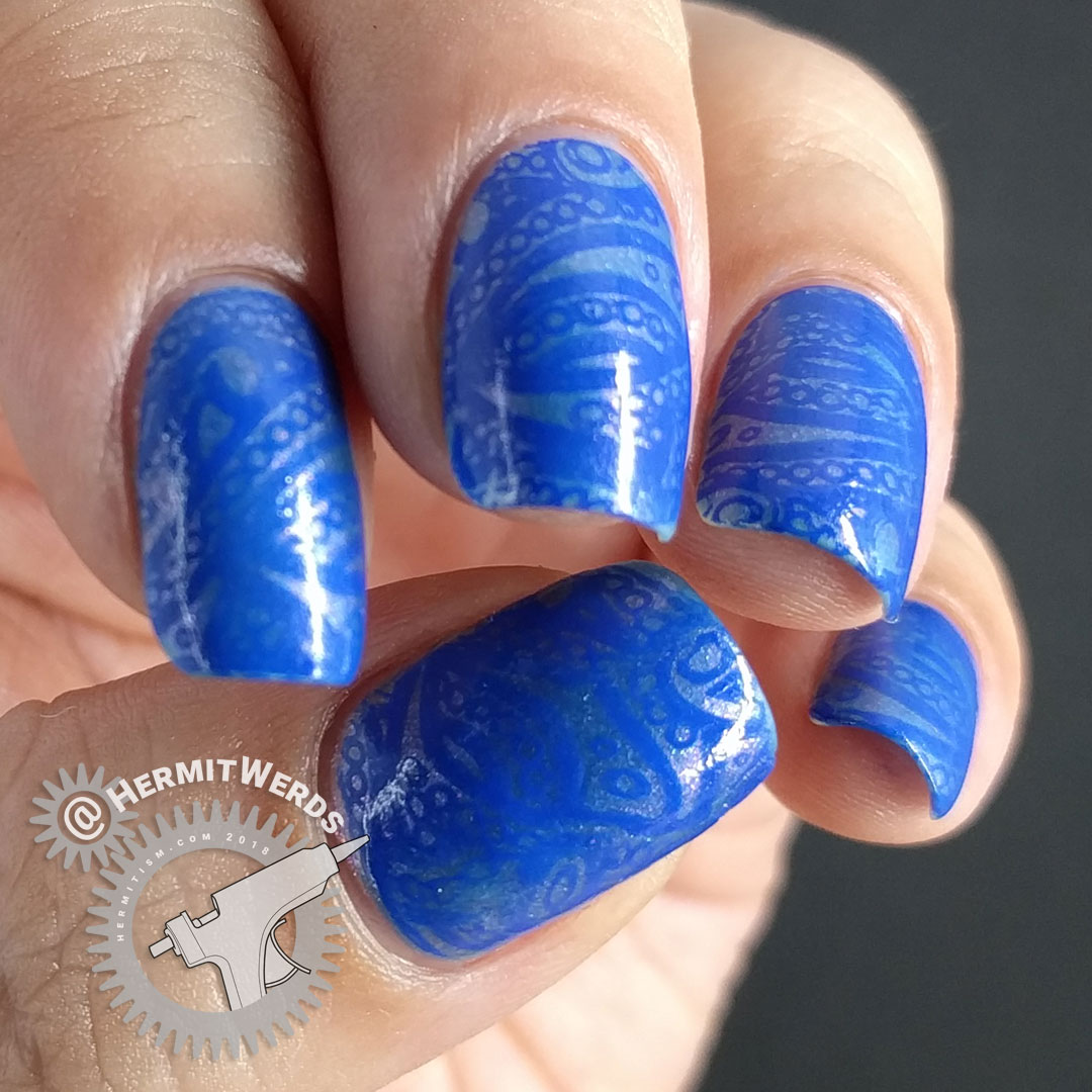 La-sea with a Chance of Sharks - Hermit Werds - nail art with elegant blue lace ocean