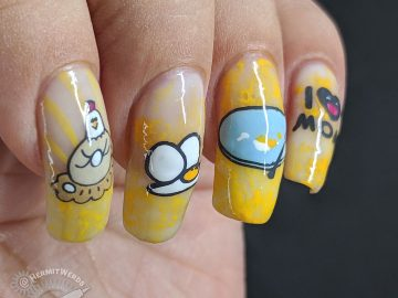 Mother's Eggs - Hermit Werds - nail art celebrating the cycle of eating eggs with hen, sunny side up egg and an empty plate.