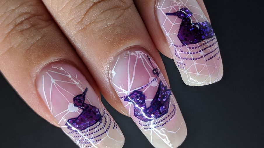 On Violet Waters - Hermit Werds - nail art of origami water birds on a white geometric background with a soft pink to white gradient
