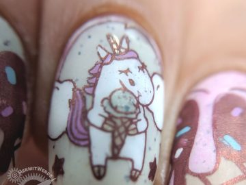 Unicorns Choose Mint Chocolate Chip - Hermit Werds - ice cream and unicorn nail art featuring mint chocolate chip, strawberry, vanilla, and chocolate with sprinkles scoops of ice cream on a cone