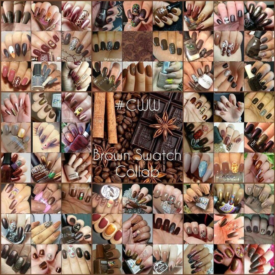 #ColoursWithinWomen - brown w/accent nail collage