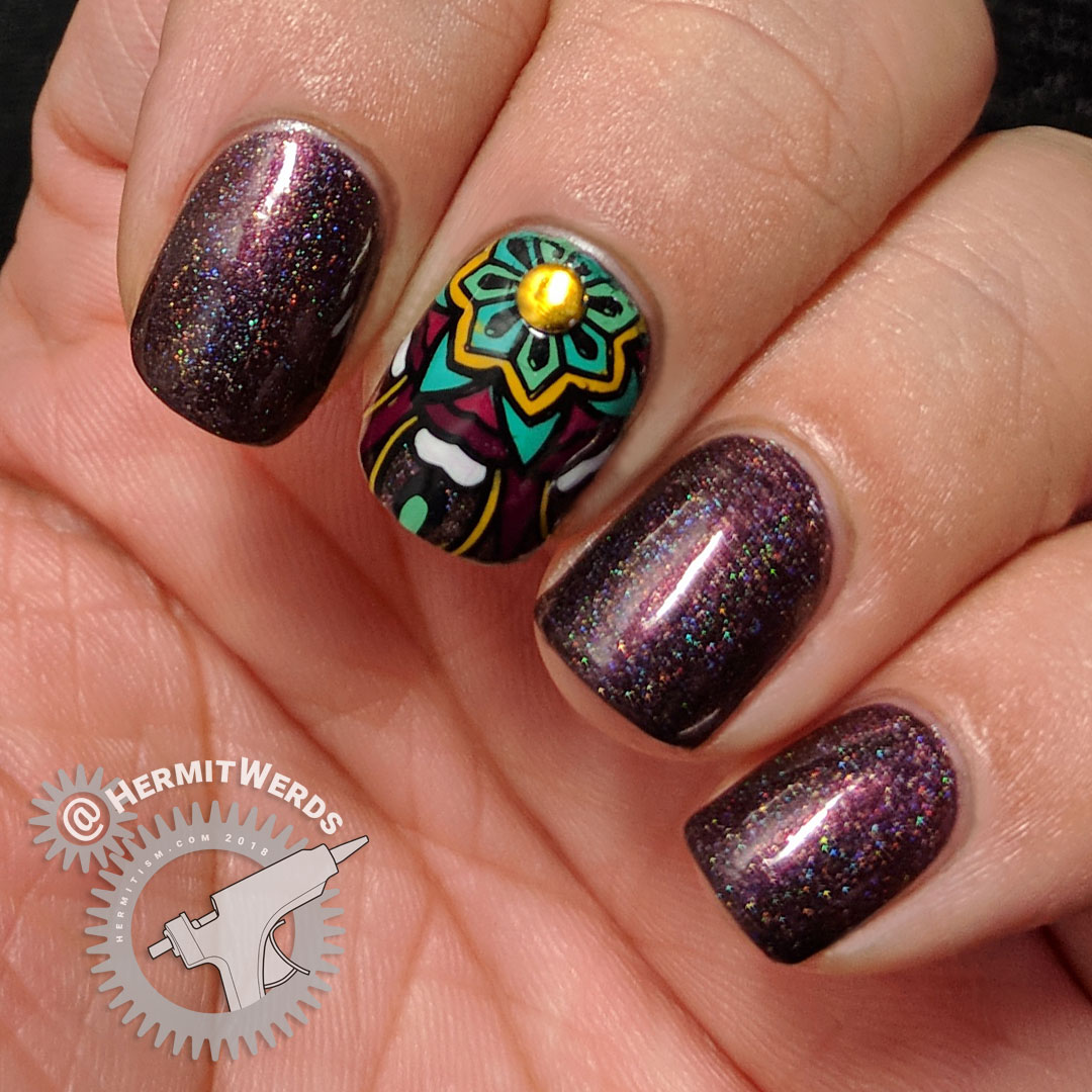 Chocolate Mandala - Hermit Werds - accent nail mandalas in mustard, green, and berry shades with brown scattered holographic nails