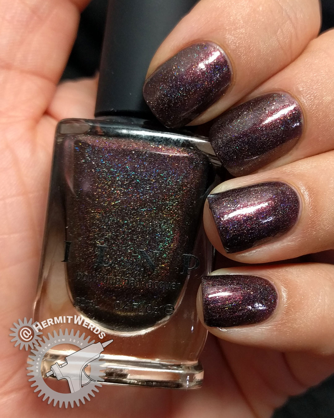 ILNP's Chocolate Slate - Hermit Werds - swatch photo of cool brown scattered holographic polish
