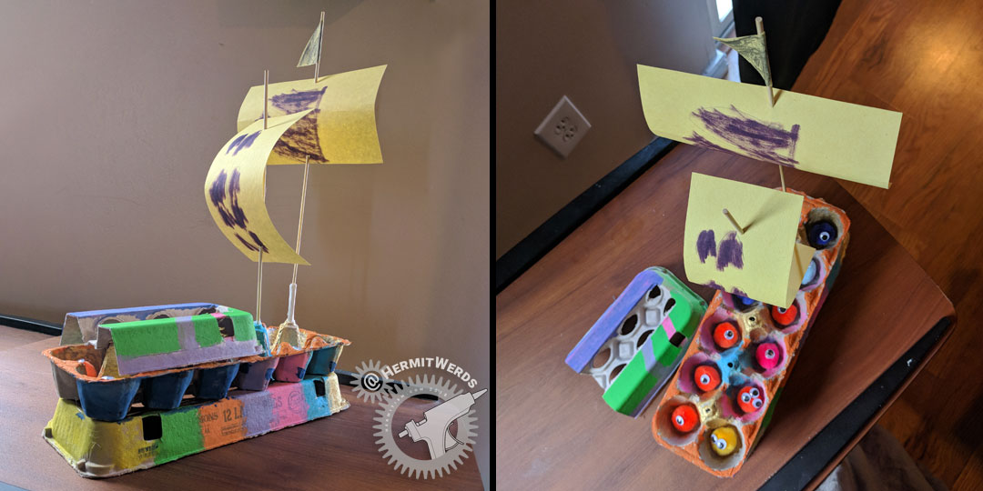 Egg Carton Pirate Ship - Hermit Werds - rainbow egg carton pirate ship with yellow sails and pom pom passengers