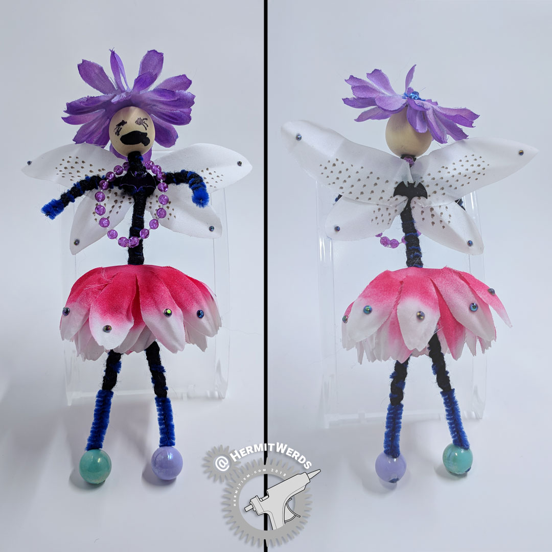 Flower Fairy - Hermit Werds - pink and purple flower fairy with little bats and lily wings