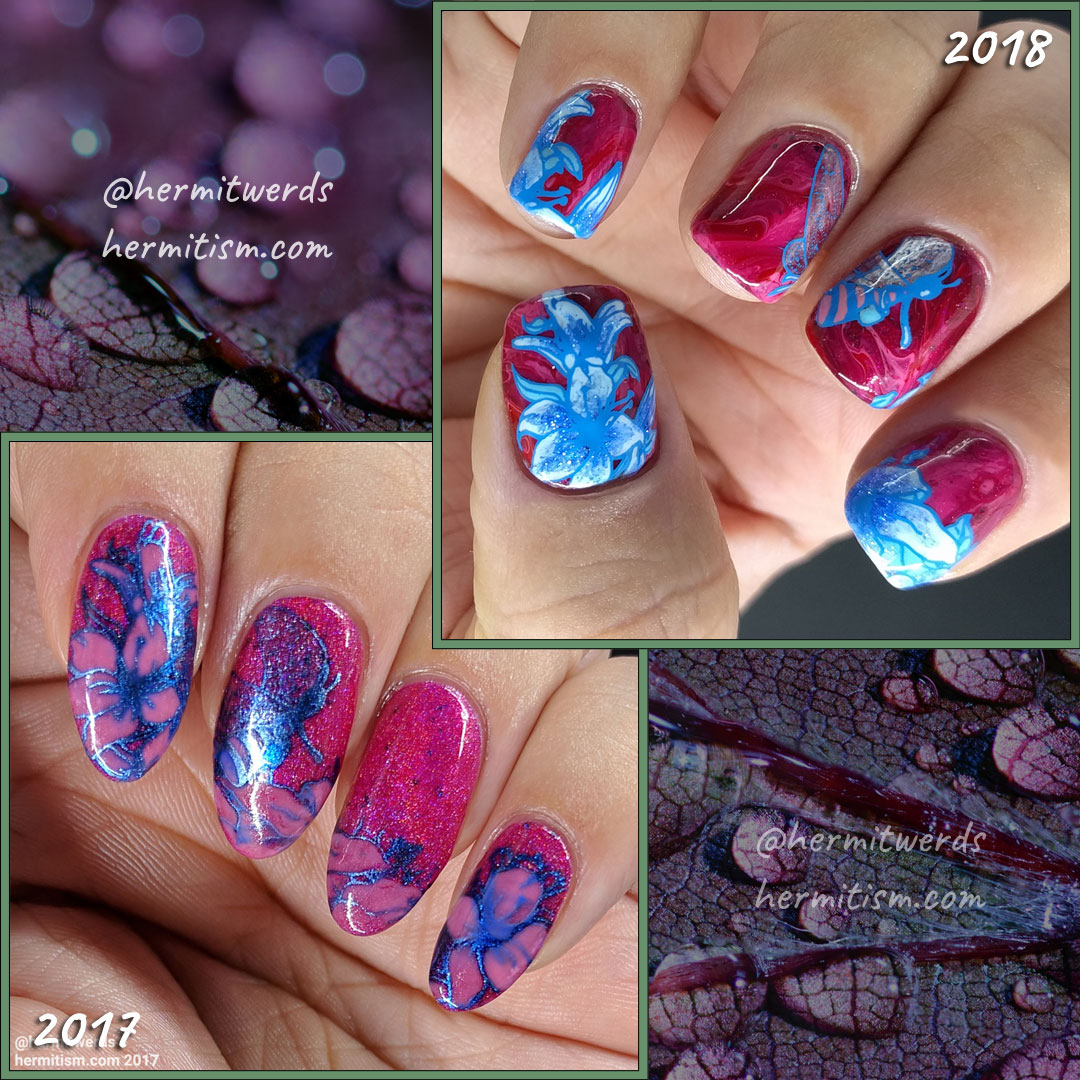 Lady of the Bees 2.0 - Hermit Werds - comparison of the two pink and blue versions of bee fairy nail art