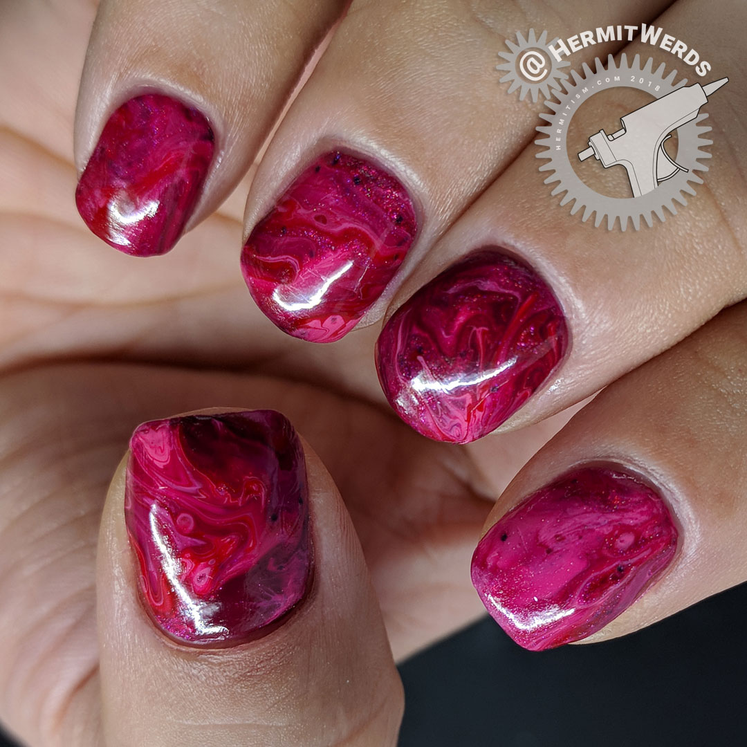 Pink to Red fluid art - Hermit Werds - pink holographic, pink, and red fluid nail art