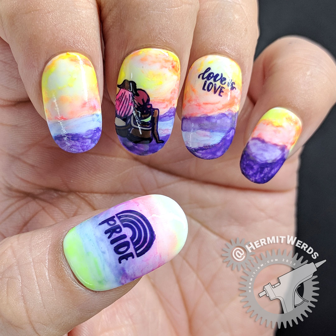 Love is Love 2 - Hermit Werds - neon rainbow LGBTQ pride nails with lesbian couple watching the sun set on a beach