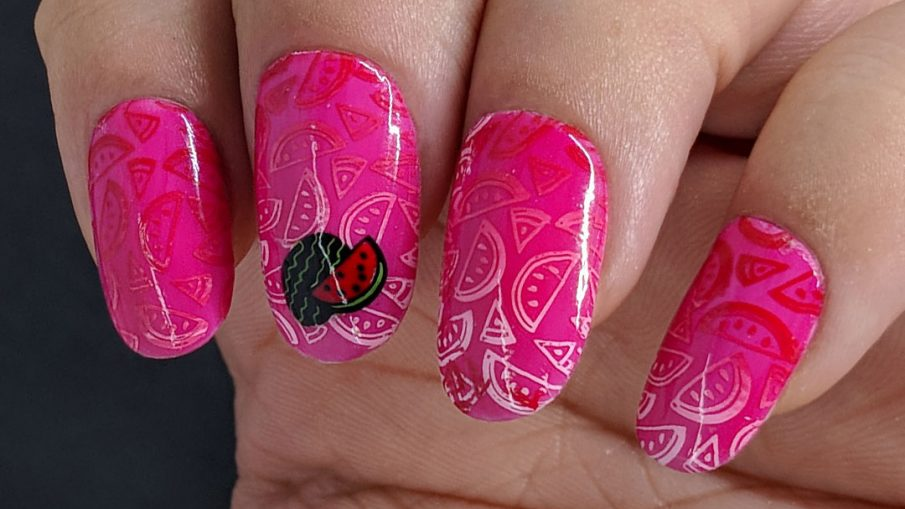 Watermelon Jelly - Hermit Werds - pink jelly watermelon nail art with a gradient-stamped watermelon background