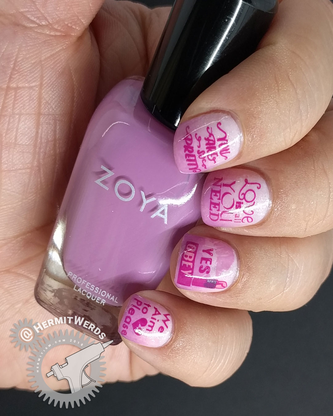 Women's Equality Day - Hermit Werds - pink nail art with stamped messages women often hear that hold them back