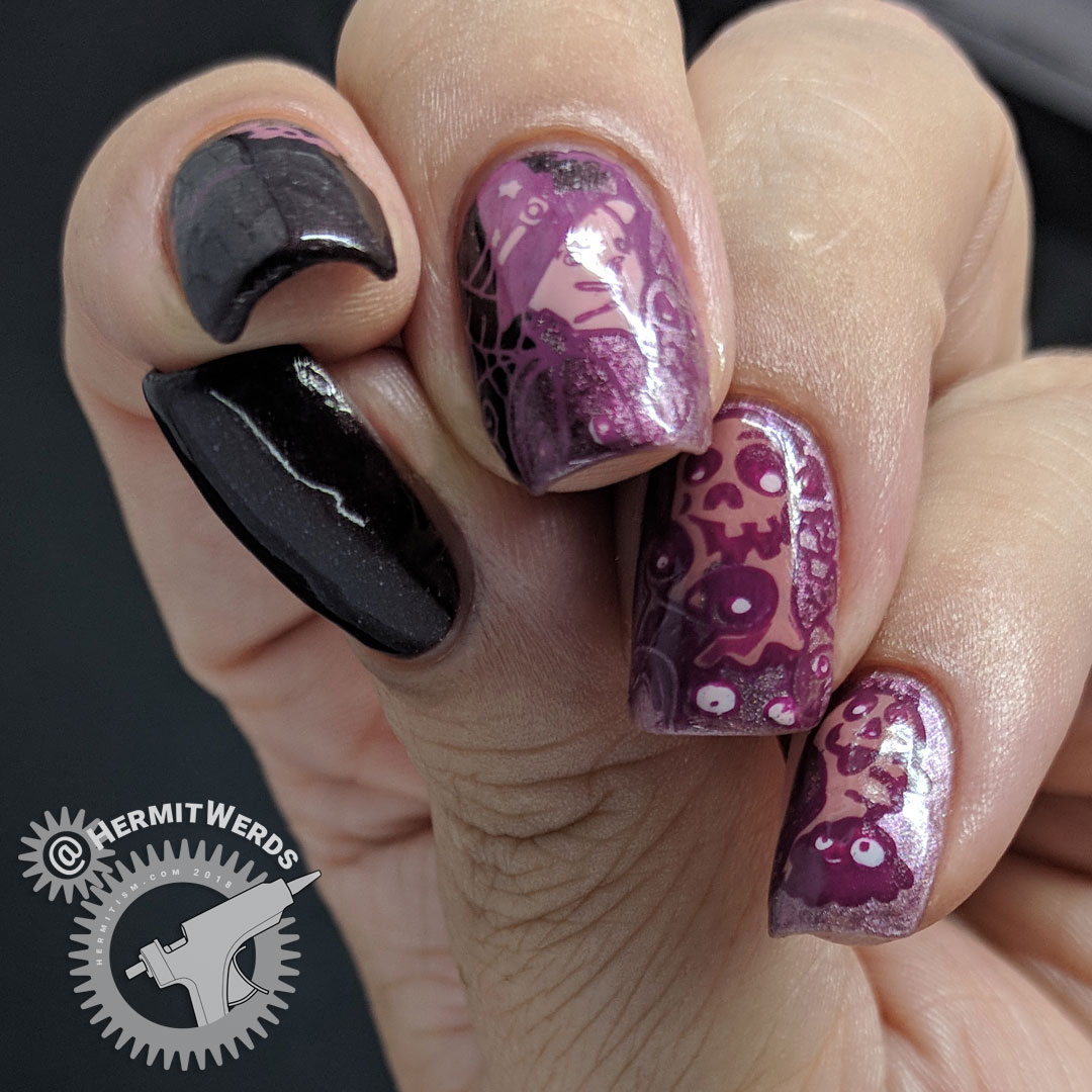 A Mauve of Monsters - Hermit Werds - monochrome mauve nail art of a group of monsters
