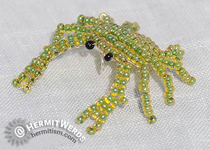 Bead Crab - Hermit Werds - crab beaded by Lisa @HermitWerds using a pattern of unknown origin
