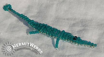 Marilyne Kéréneur's Crocodile - Hermit Werds - crocodile/alligator beaded by Lisa @HermitWerds