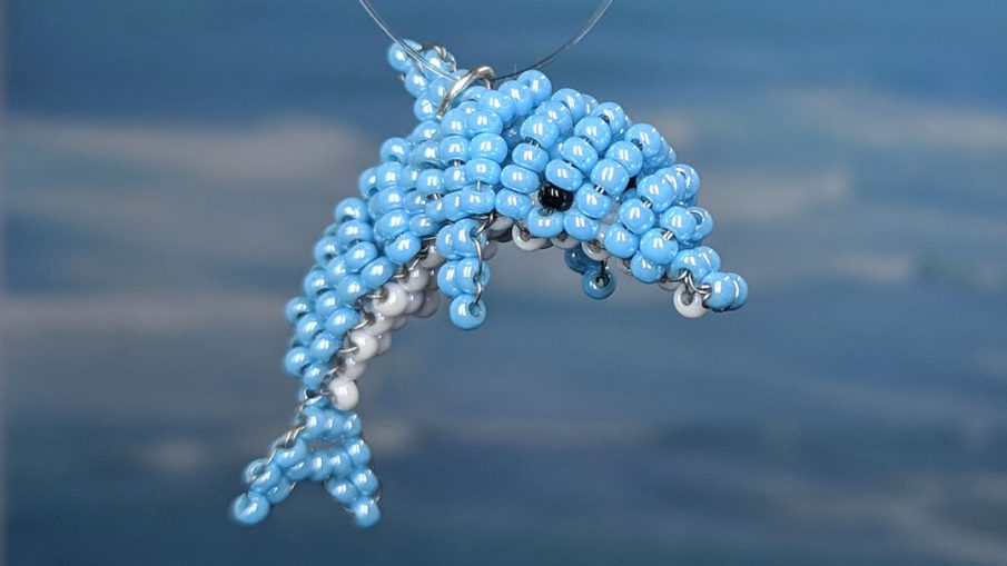 Bead Dolphin - Hermit Werds - seed bead dolphin following Marilyne Kéréneur's pattern and adding in my own details