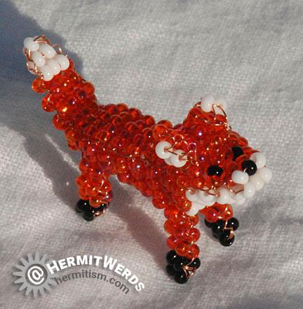 Marilyne Kéréneur's Fox - Hermit Werds - little orange fox beaded by Lisa @HermitWerds