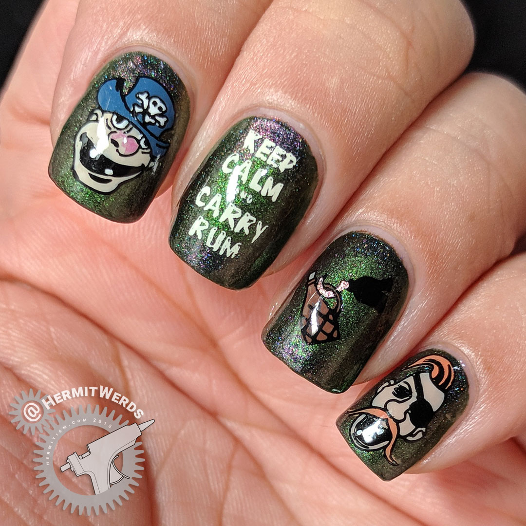 "Carry Rum - Hermit Werds - green shimmer nail art with pirate crew decals and a hook holding a bottle of rum ""Keep Calm and Carry Rum"""