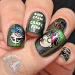 """Carry Rum - Hermit Werds - green shimmer nail art with pirate crew decals and a hook holding a bottle of rum """"Keep Calm and Carry Rum"""""""