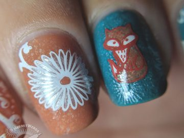 Fox Among Daisies - Hermit Werds - teal and terra cotta nail art with daisies and a fox decals on top