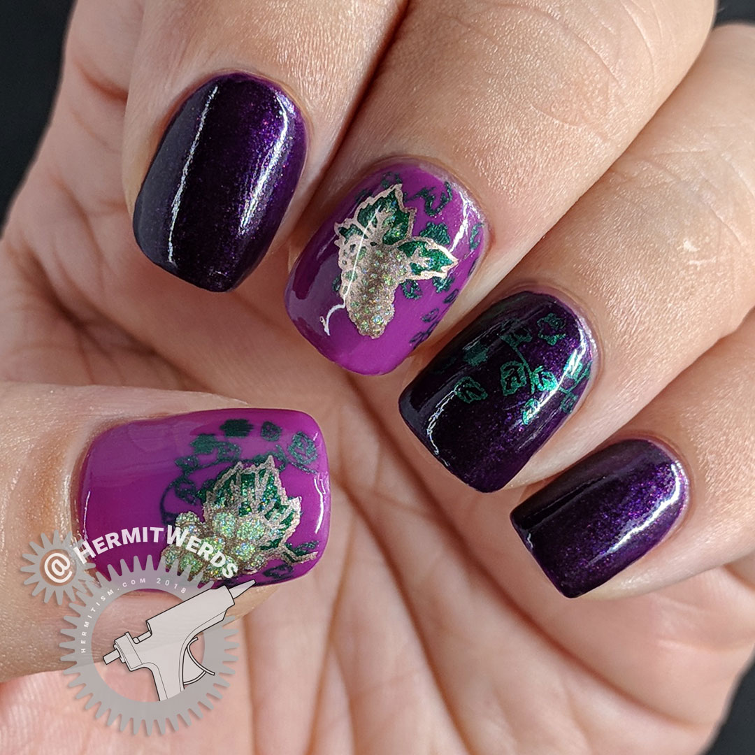 Grape Vine - Hermit Werds - purple grape-colored nail art with green grape decals and grape vines
