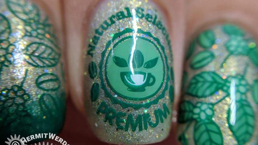 Green Coffee - Hermit Werds - holographic green coffee nail art with coffee berry bush
