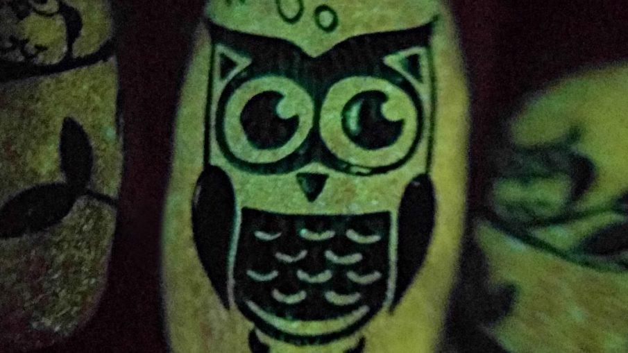 Hoo-nted Woods - Hermit Werds - orange glow in the dark Halloween nail art with green stamped owls