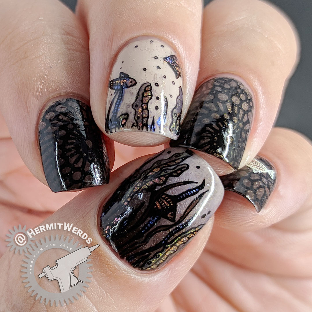 Life in the Sea(weed) - Hermit Werds - brown ocean bottom nail art with duo-crhome seaweed and fish