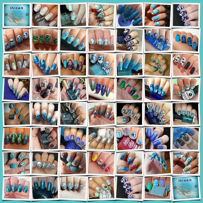 #AZNailArtChallenge - 'O' is for Ocean collage