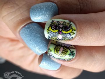 Ornamental Owl - Hermit Werds - autumn owl in spring pastels with light blue textured polish