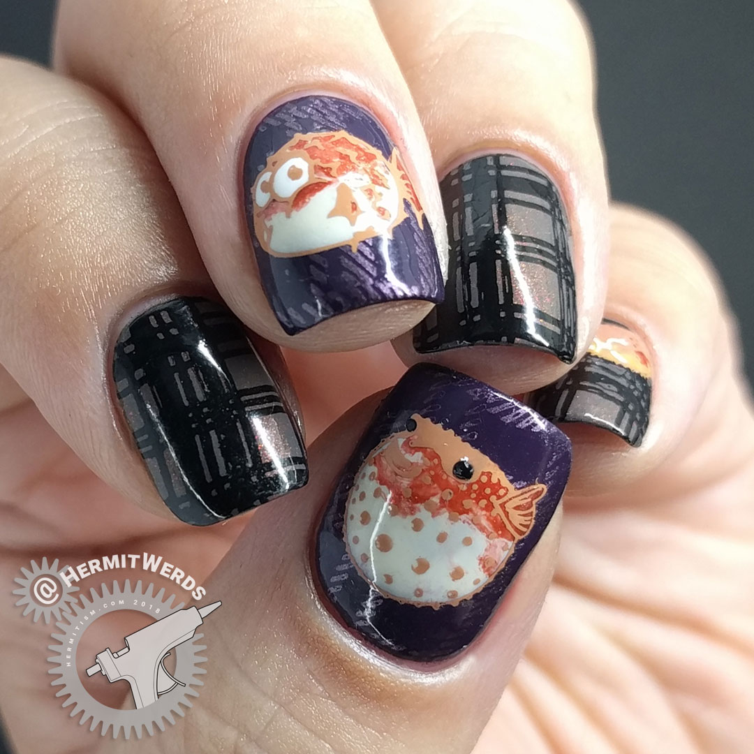 Pass the Puffer Fish - Hermit Werds - purple and grey plaid nail art with puffer fish decals on top