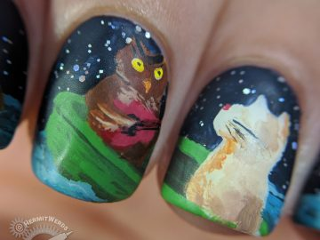The Owl and the Pussycat (macro) - Hermit Werds - Freehand nail art of The Owl and the Pussycat by Lear with acrylic paints. The owl and the pussycat at sea in their pea green boat.