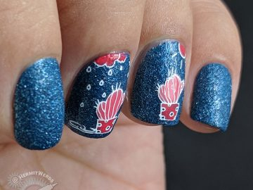 Water My Cactus - Hermit Werds - dark blue, pink, and coral nail art with a cactus in both the rain and the sunshine