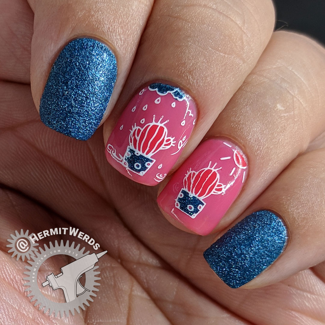 Water My Cactus (#nailfail) - Hermit Werds - dark blue, pink, and coral nail art with a cactus in both the rain and the sunshine