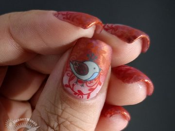 Birds of Fall - Hermit Werds - nail art of a sweet little fall birds on a duochrome red leaf background