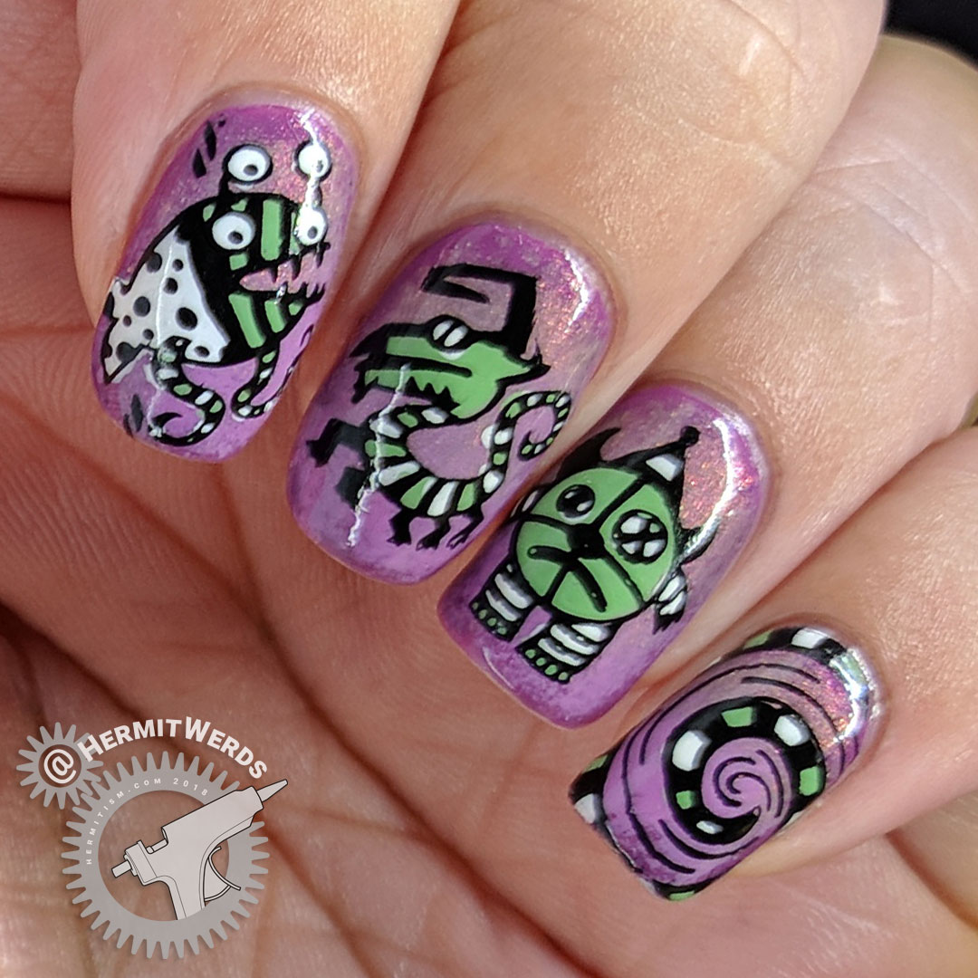 Creepy Carnival - Hermit Werds - carousel monster stamping decals to ride when visiting the creepy carnival on a shimmery purple background