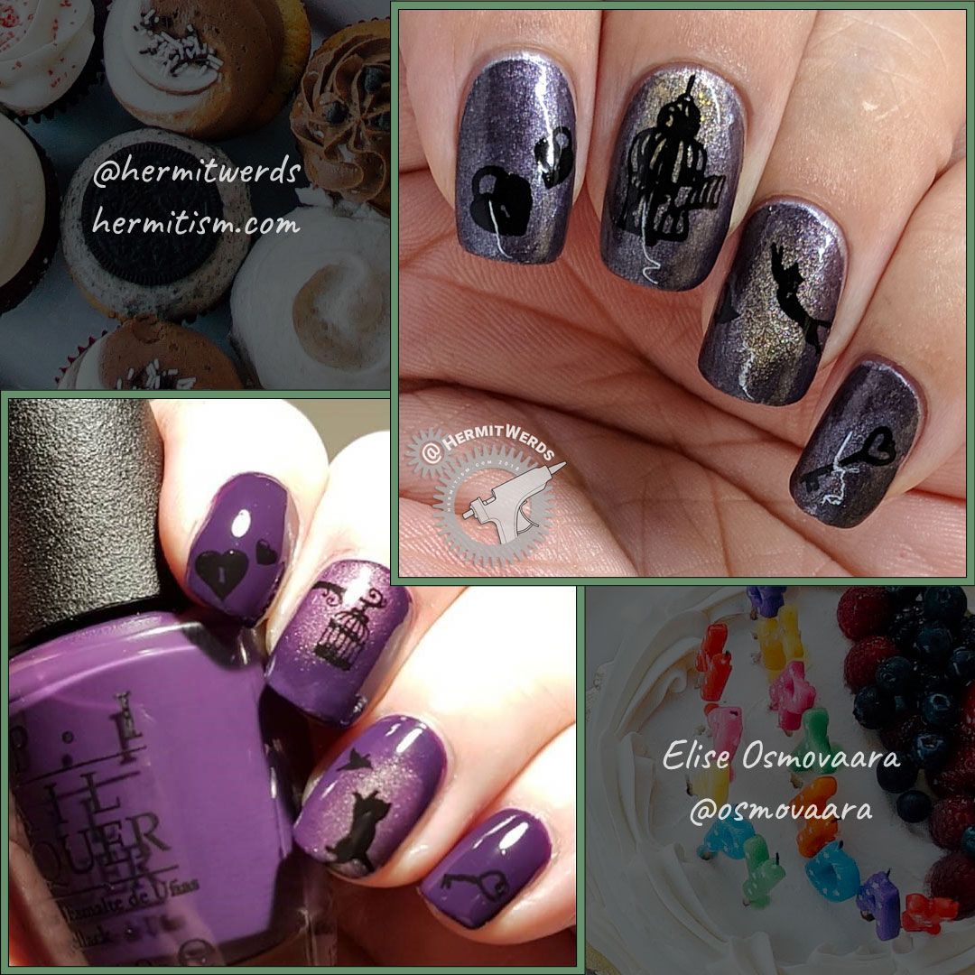 Elise's Birthday Recreation - comparison - Hermit Werds - recreation of Ellise's purple cat mani for her birthday