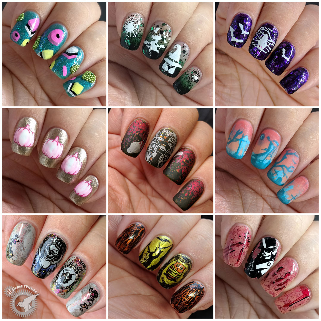 #GlamNailsChallengeOct - completed collage - Hermit Werds - completed nail art challenge for October 2018