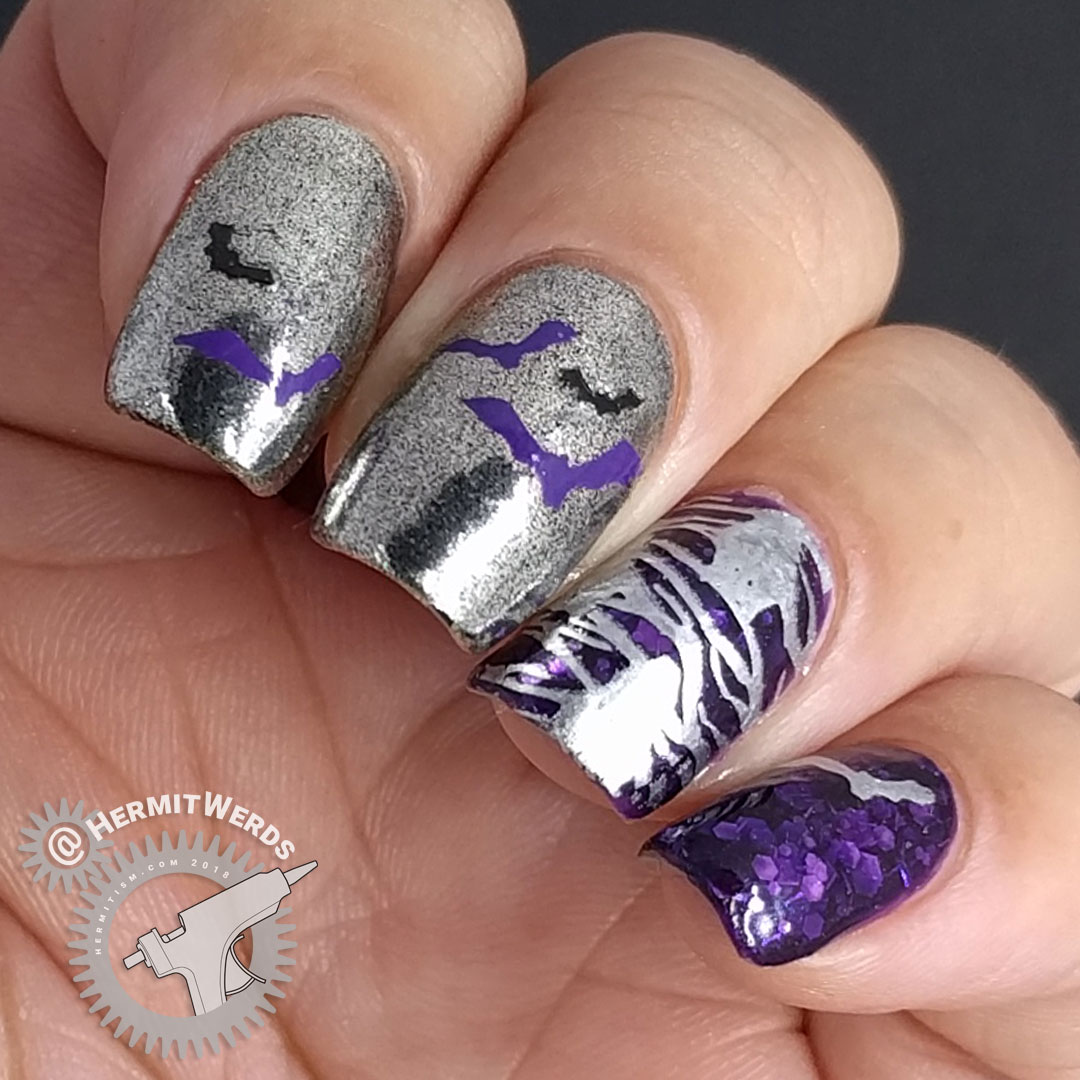 #NailFail Bats - Hermit Werds - chrome and purple jelly nail art with bats