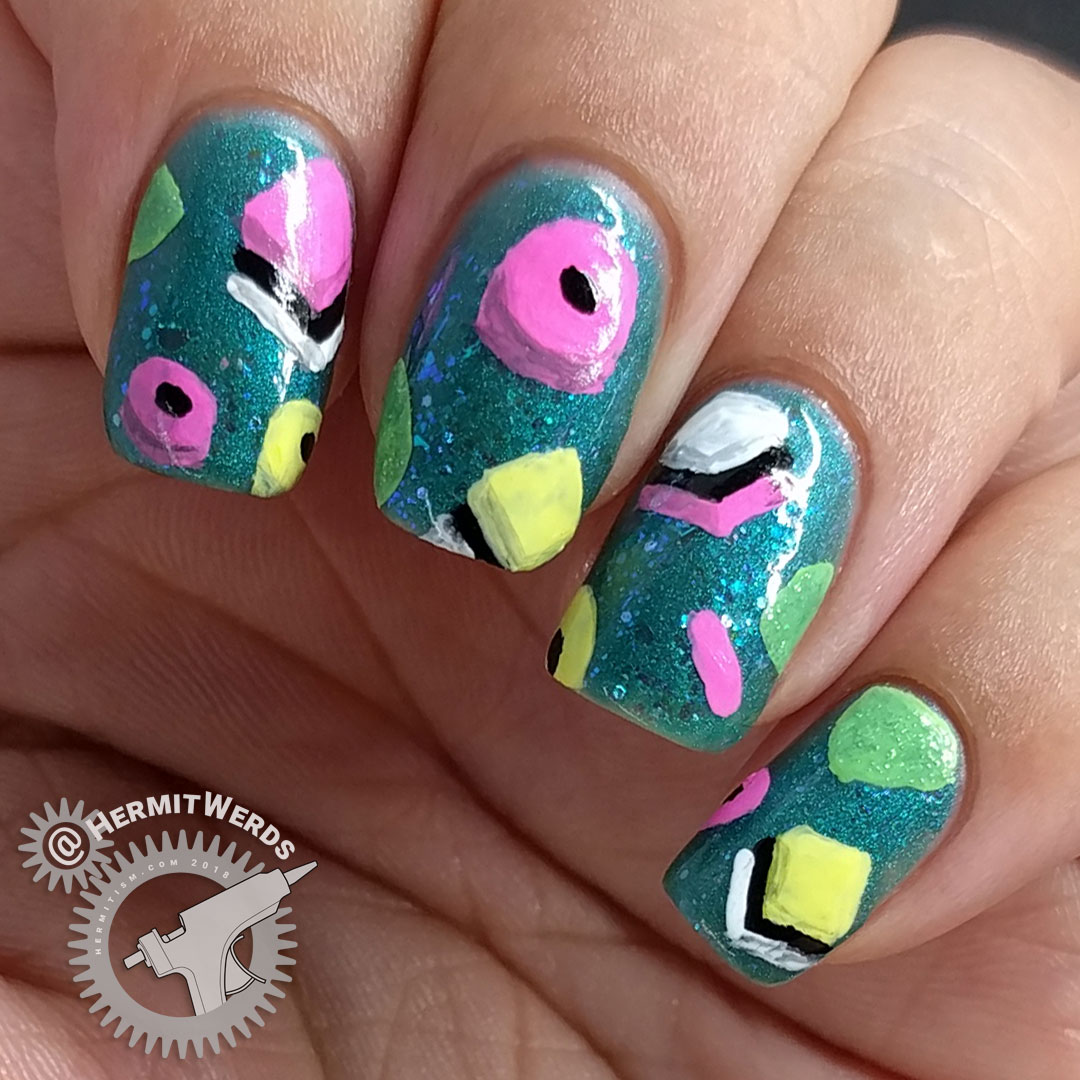 Gourmet Licorice - Hermit Werds - bright teal jelly sandwich nails with gourmet licorice freehand painted on top