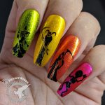 Halloween Silhouettes - Hermit Werds - long, tall stamped silhouettes of a witch, devil, demon, skeleton, and witch on metallic rainbow coffin falsies