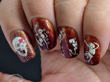 Hunka Hunka Skeleton - Hermit Werds - nail art featuring hunky skeletons showing off for interested skull stamped over a copper and red gradient