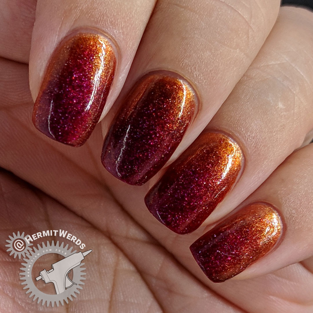 "Zoya's ""Blaze"" w/Sinful Colors' ""Copper Pot"" - Hermit Werds - red glittery nail polish gradient-ed over copper"