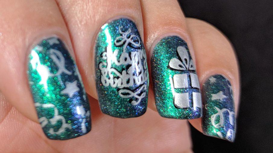 Happy Birthday, Neha! - Hermit Werds - multichrome birthday nails for Neha