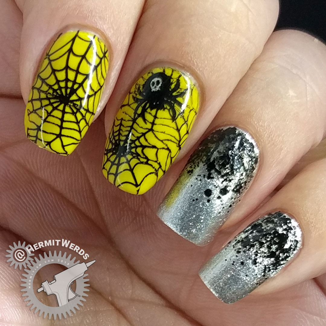 Neon Web - Hermit Werds - neon yellow behind a bold spider web and skull-marked spider