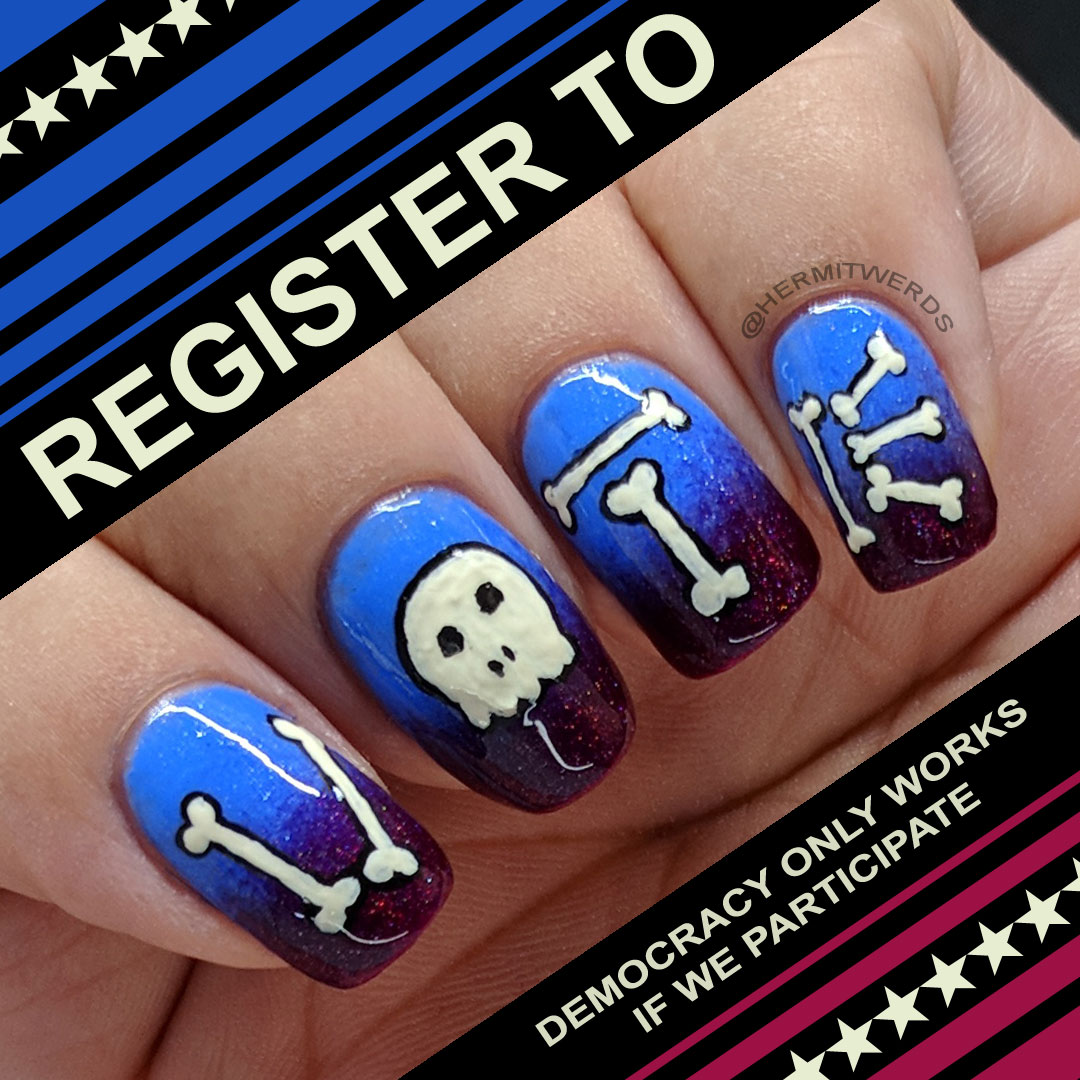 "Register to Vote this October - Hermit Werds - nail art featuring a red and blue holographic gradient with freehand bones spelling ""VOTE"""