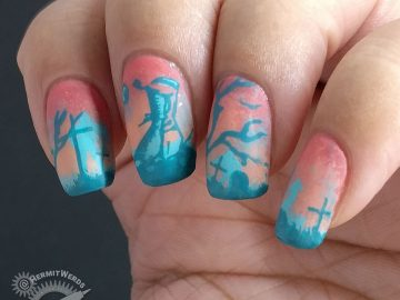 The Graveminder - Hermit Werds - salmon pink and teal nail art of a graveyard with a reaper attendant and zombies lurching in the background