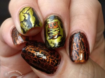 Wisdom Under Wraps - Hermit Werds - gold/copper/black mummy owl nail art with black crackle top coat