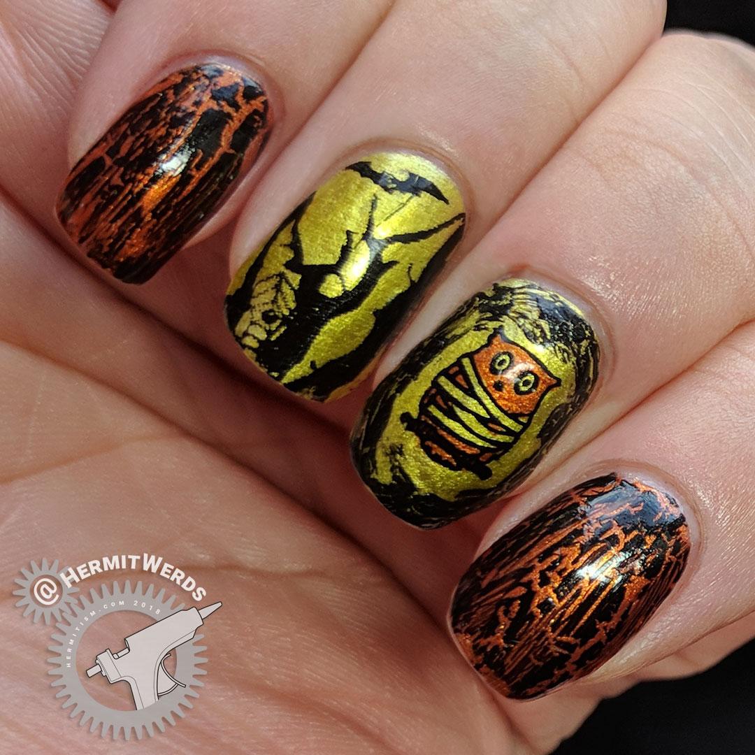 Wisdom Under Wraps - Hermit Werds - gold/copper/black mummy owl nail art with black crackle top coat